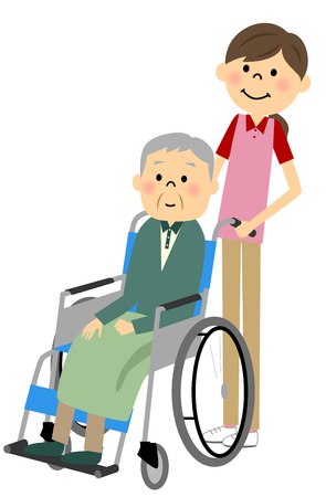 home care nurse: Sitting in a wheelchair with the elderly