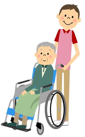 Sitzen in einem Rollstuhl mit den alten Menschen