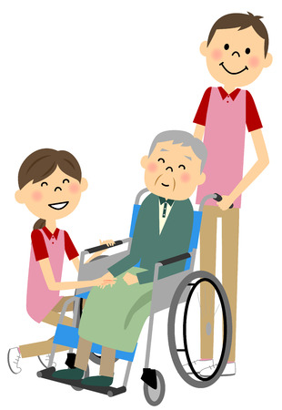 nursing care are for seniors: Sitting in a wheelchair with the elderly