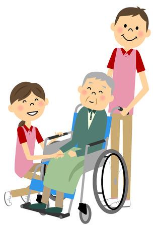 pflegeversicherung: Sitzen in einem Rollstuhl mit den alten Menschen