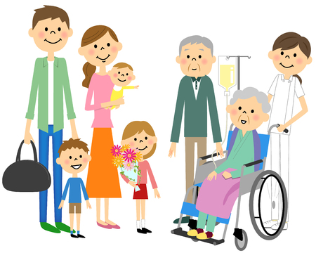 Families who came to sit in wheelchairs for the elderly and sympathy