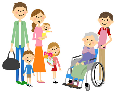 Family came to see me and sit in a wheelchair for the elderly  イラスト・ベクター素材