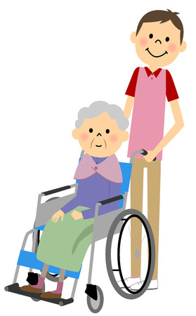 sick kind: Sitting in a wheelchair with the elderly