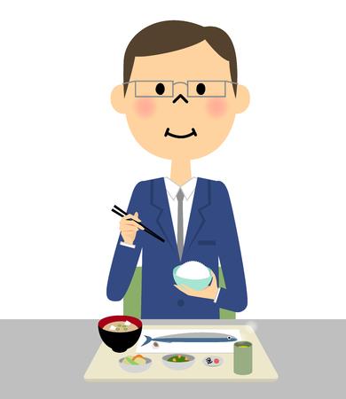 Businessman eating Illustration