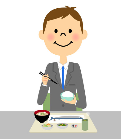 Businessman eating Illustration