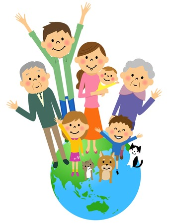 Earth and family Stock Illustratie
