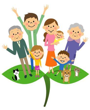 wakaba: Wakaba and family Illustration