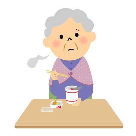 Elderly eat cup noodles alone