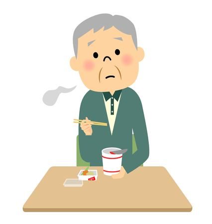 calories poor: Elderly eat cup noodles alone Illustration