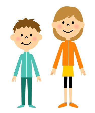 Children dressed in sportswear