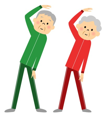 good friends: Warm-up exercise to senior couples