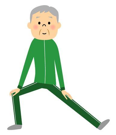 asian lifestyle: Warm-up exercise senior Illustration