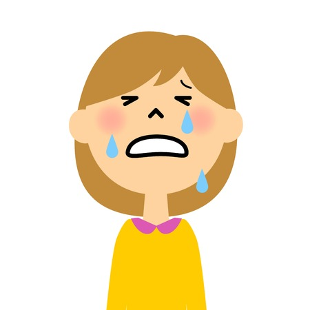 泣いている女の子  イラスト・ベクター素材