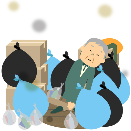 Trash and elderly Illustration