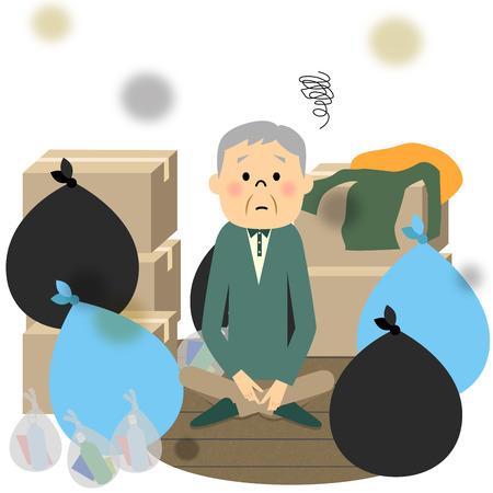 Trash and elderly 向量圖像
