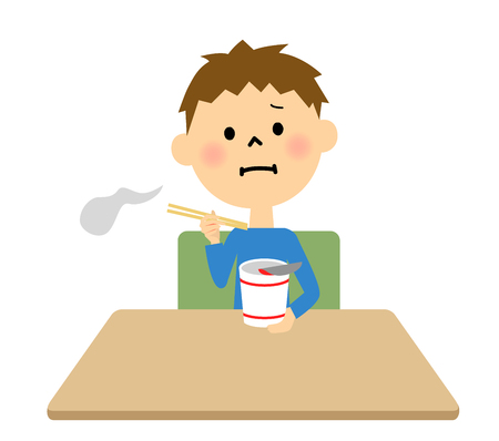 voice mail: Childrens eating noodles alone