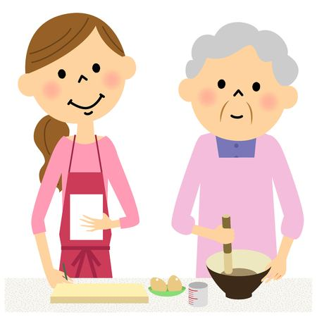 Women learn cooking