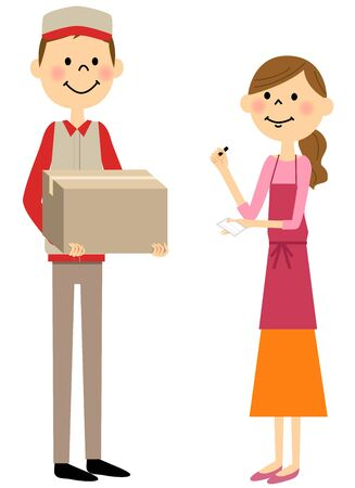 Women in receipt of parcel delivery