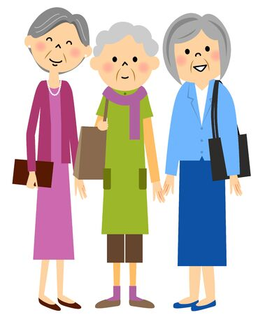 meet up: Senior and go out with friends Illustration