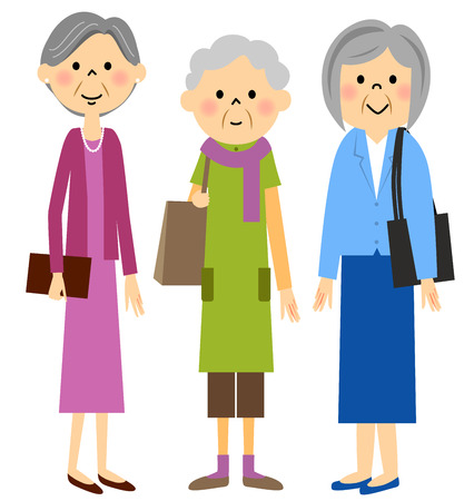 Senior y salir con los amigos Ilustración de vector