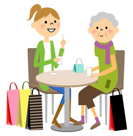 Enjoy tea time with a young senior