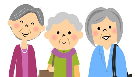 Senior and go out with friends Illustration