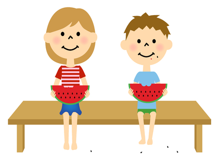 veranda: Children eating watermelon