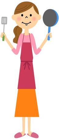 educadores: delantal de las mujeres con utensilios de cocina Vectores