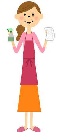 Apron cleaning woman Illustration
