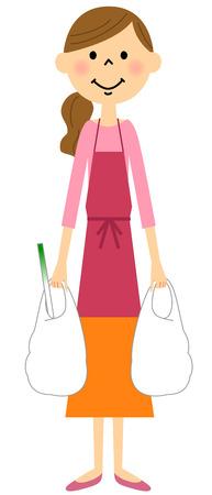 Women to shop apron Illustration