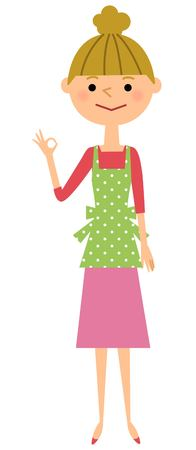 that: Women in apron giving OK sign?