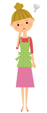 Women embarrassed apron