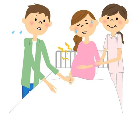 husband and wife: Hospital during pregnancy labor