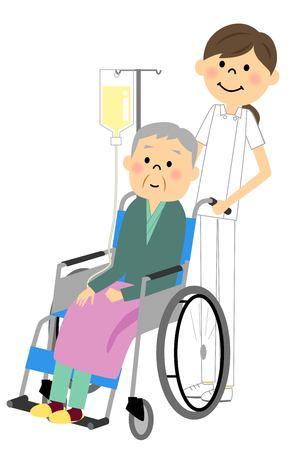 Sitzen in einem Rollstuhl mit der älteren Krankenschwester Standard-Bild - 66641179