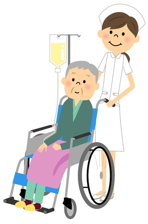 sick kind: Sitting in a wheelchair with the elderly nurse Illustration