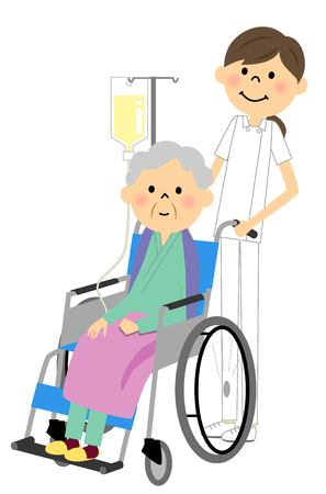 Sitting in a wheelchair with the elderly nurse Illustration