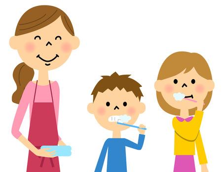 母と子の歯を磨く  イラスト・ベクター素材