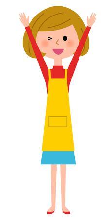 pflegeversicherung: Frauen-Schürze beide Hände erhoben, freue dich