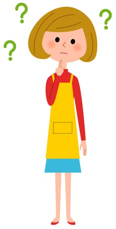 The female of the apron who holds a question