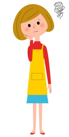 The female of the apron who would be a problem  イラスト・ベクター素材