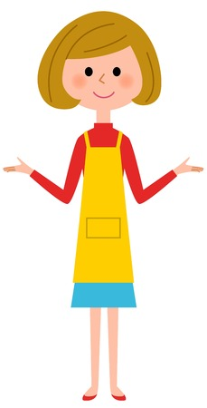 The female of the apron, Both hands are opened Illustration