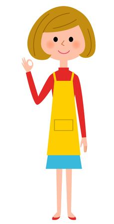 The female of the apron, the OK sign Illustration