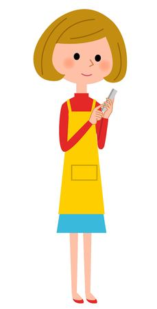 operates: The female of the apron who operates a mobile phone Illustration