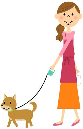 개를 산책하는 앞치마의 여성 일러스트