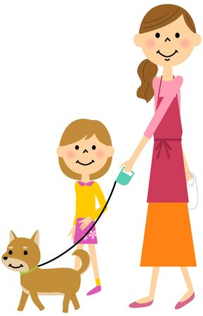 The parent and child who strolls through a dog Illustration