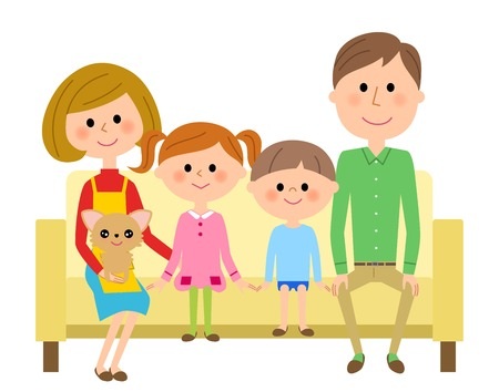 The family which sits down on a sofa and relaxes Illustration