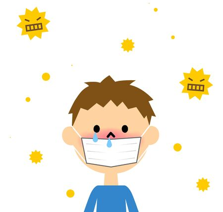 itchy: Child with hay fever Illustration
