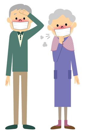 Couple senior of physical condition badness Illustration