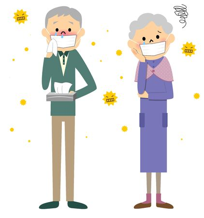 Couple senior with hay fever