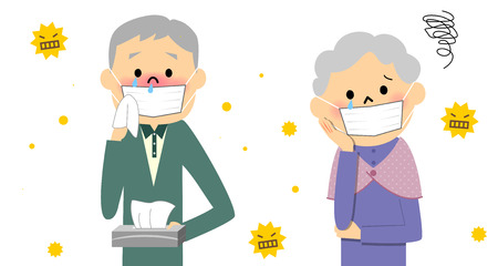 pollen: Couple senior with hay fever